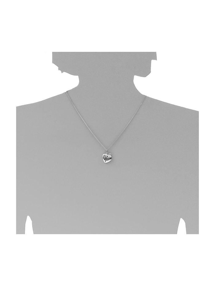 Kette mit Anhänger - geteiltes Herz - Silber 925/000 - Zirkonia