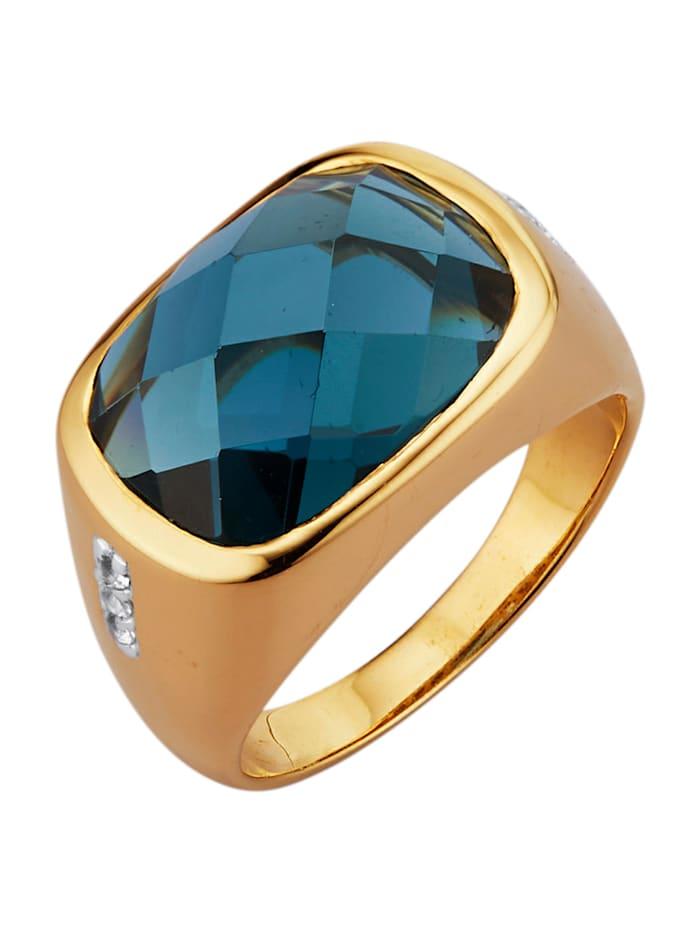 Gemondo Ring med syntetisk kvarts och vita topaser, Blå