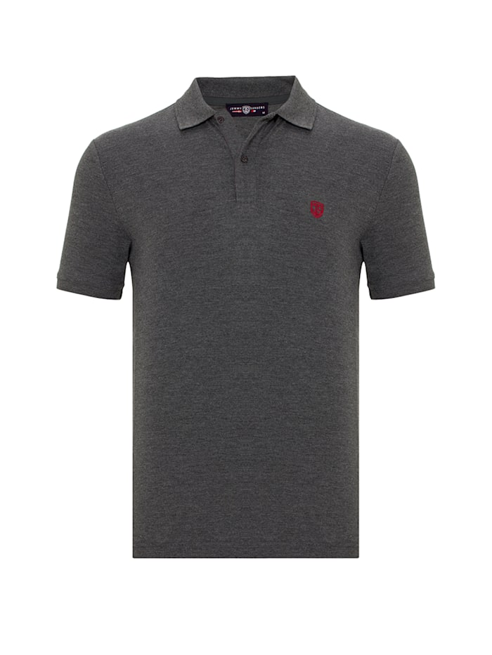 Jimmy Sanders Einfarbiges Kurzarm-Polo Viviano, anthracite