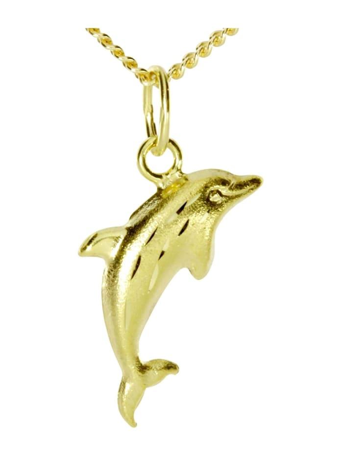 OSTSEE-SCHMUCK Kette mit Anhänger - Delphin - Gold 333/000 - ,, gold