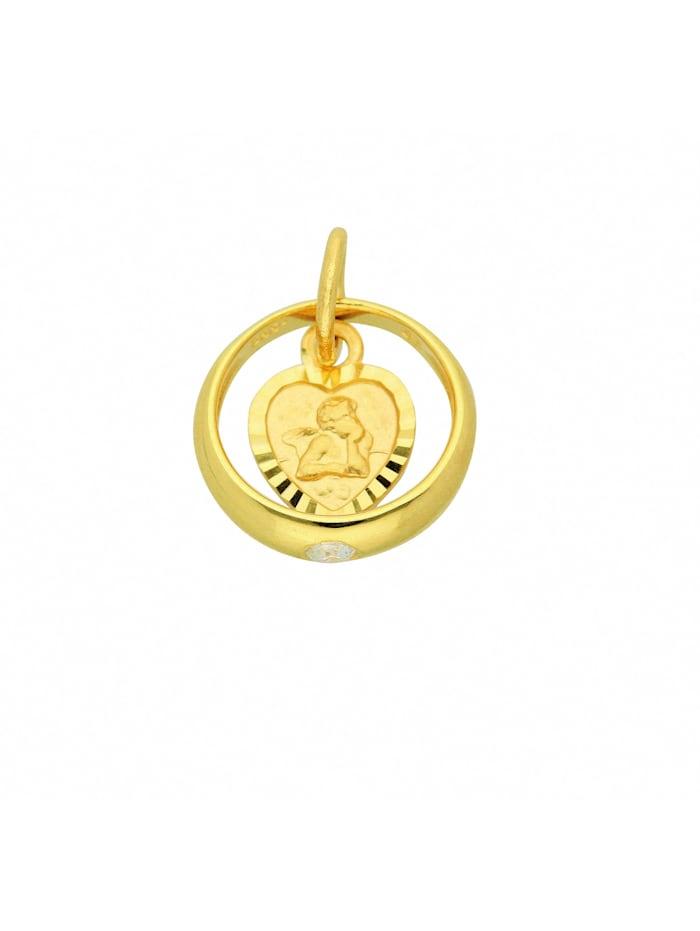 1001 Diamonds Damen Goldschmuck 585 Gold Anhänger Taufring mit Zirkonia Ø 10,4 mm, gold