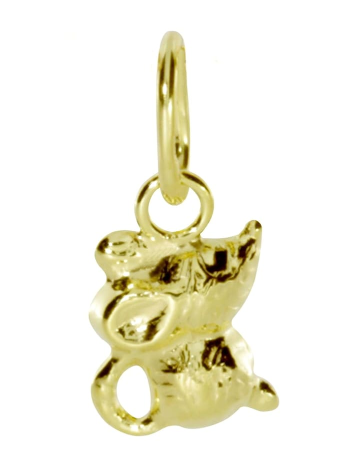 OSTSEE-SCHMUCK Anhänger - Mäuschen - Gold 333/000 - ,, gelb