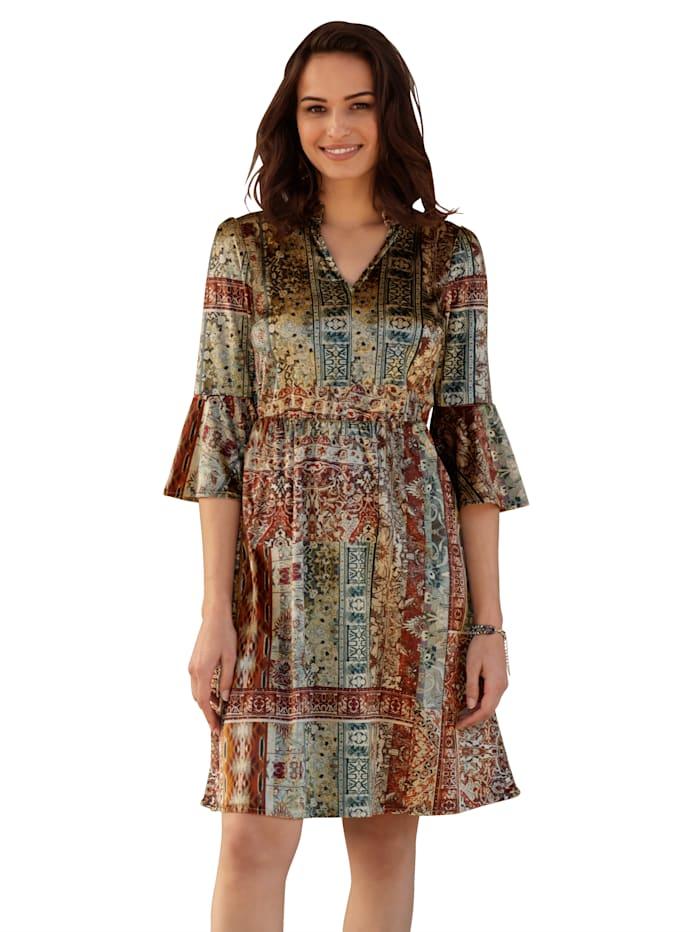 AMY VERMONT Kleid aus Samt, Taupe/Bordeaux