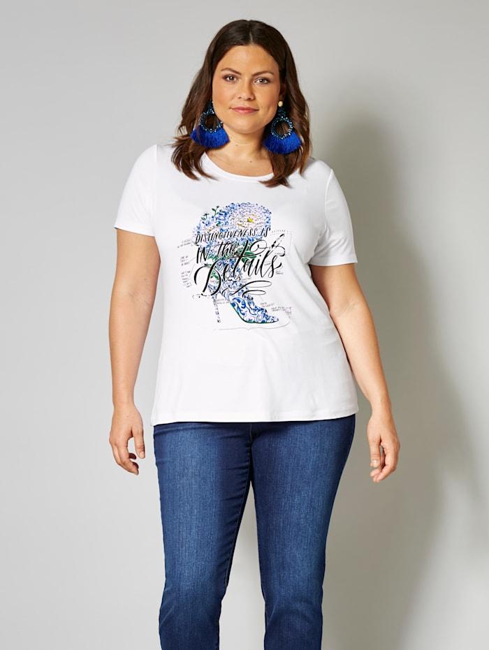 Sara Lindholm Shirt met schoenmotief, Wit