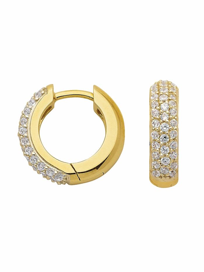 1001 Diamonds 1001 Diamonds Damen Goldschmuck 333 Gold Ohrringe / Creolen mit Zirkonia Ø 13,9 mm, gold