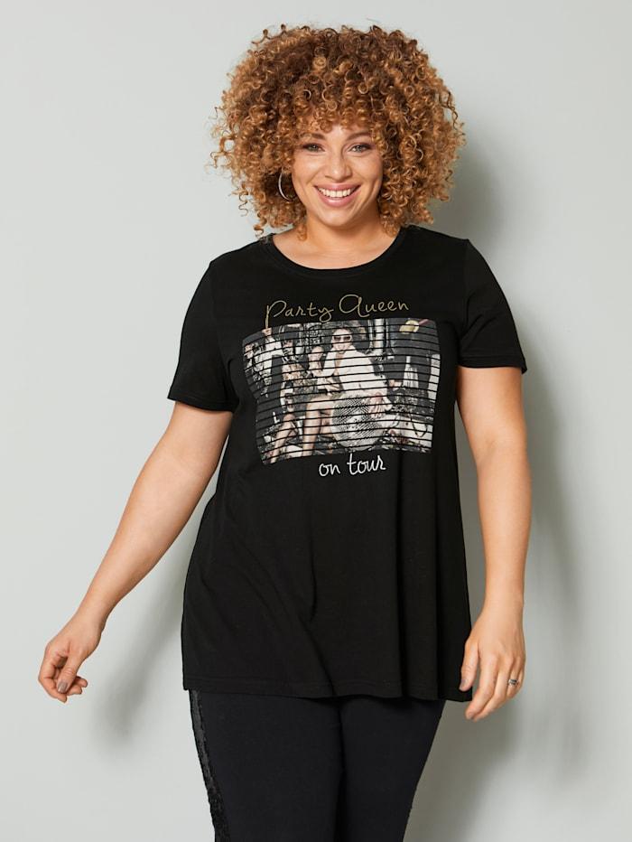 Angel of Style Shirt mit Frontdruck, Schwarz