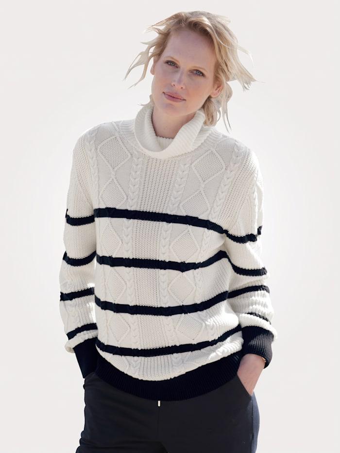 MONA Pullover in hochwertiger fullyfashion Verarbeitung, Ecru/Marineblau