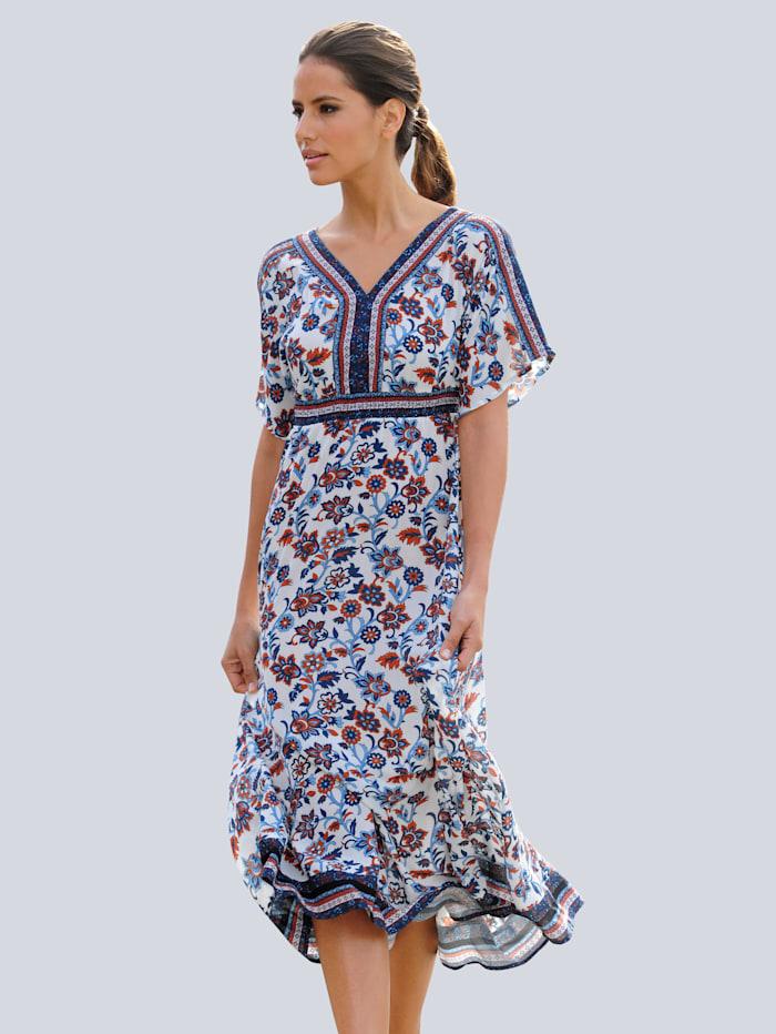 Alba Moda Strandkleid mit romantischem Druckdessin, Weiß