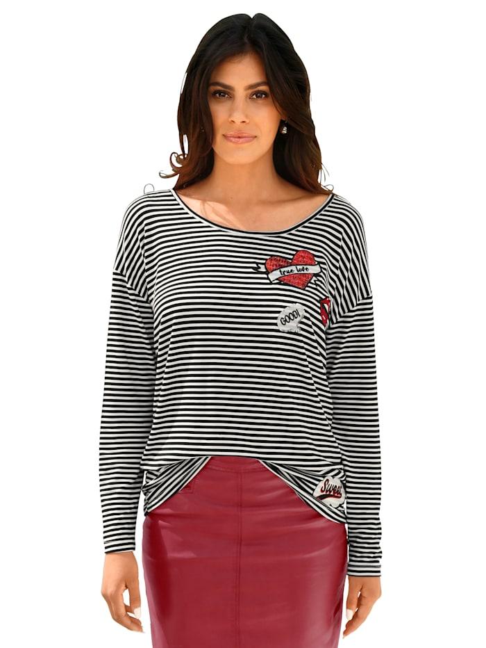 AMY VERMONT Shirt mit Pailletten-Patches, Schwarz/Weiß