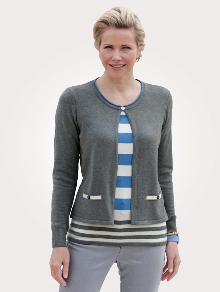MONA Pullover in 2-in-1-Optik, Blau/Grau/Natur