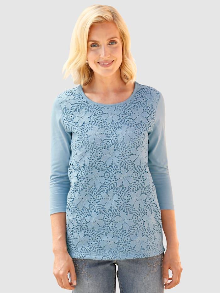 Paola Shirt mit Spitzeneinsatz vorne, Hellblau
