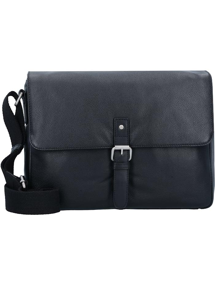 Leonhard Heyden Berlin Messenger Umhängetasche Leder 33 cm Laptopfach, schwarz