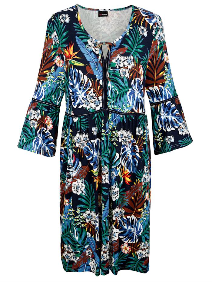 MIAMODA Robe avec bande à nouer à l'encolure, Multicolore