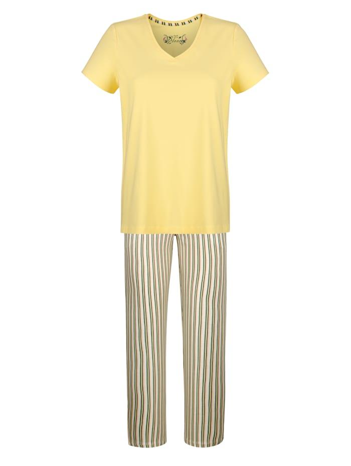 MONA Schlafanzug mit kontrastfarbenem Dehnbund, Hellgelb/Salbeigrün