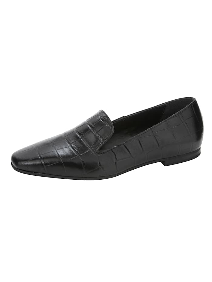 Loafer in edler Kroko-Optik, Schwarz