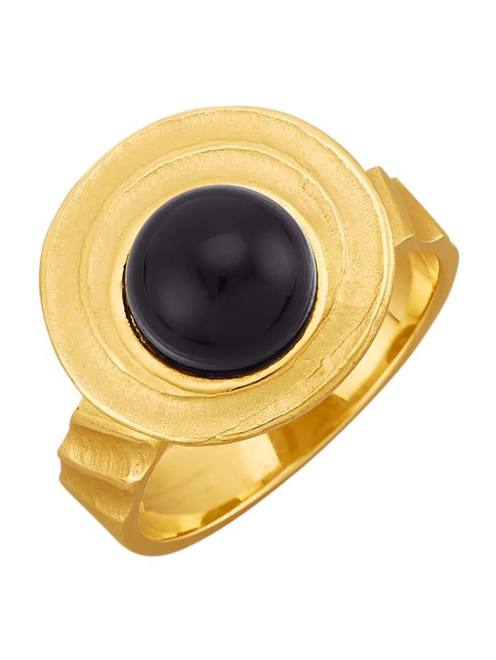 Amara Pierres colorées Bague avec cabochon d'onyx, Noir