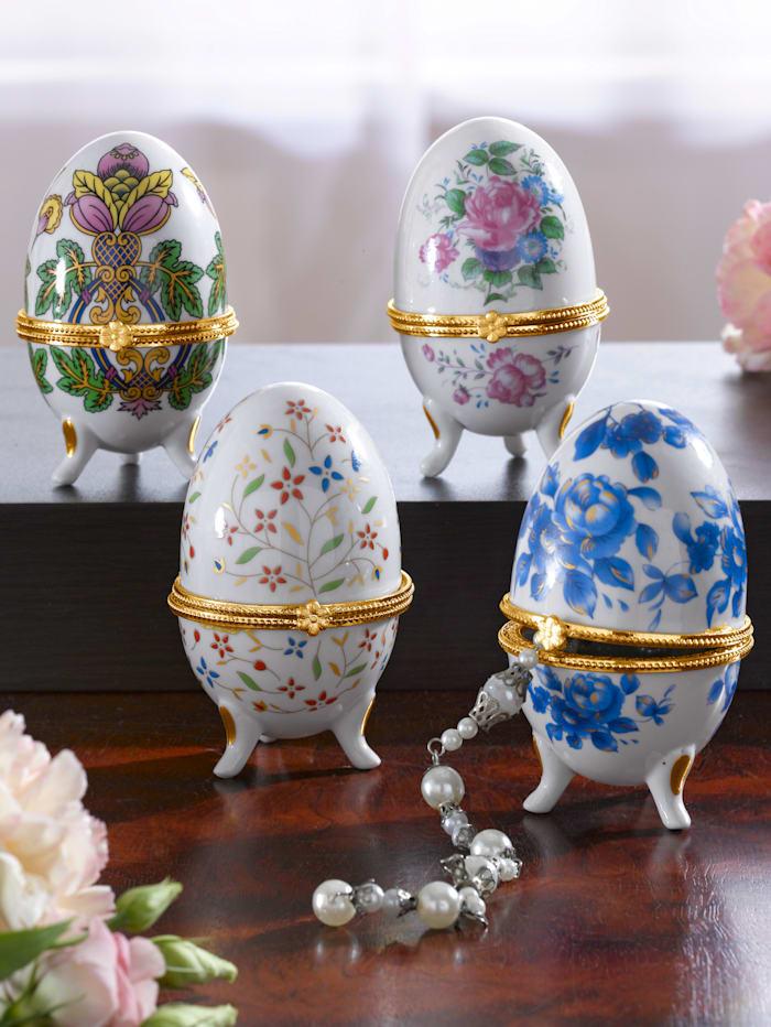 4 porseleinen eieren in Fabergé-stijl