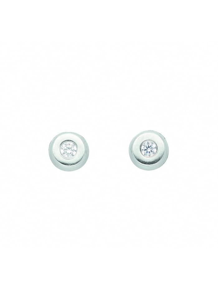 1001 Diamonds Damen Goldschmuck 333 Weißgold Ohrringe / Ohrstecker mit Zirkonia Ø 4,8 mm, silber