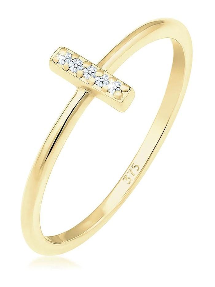 Elli Premium Ring Kreuz Symbol Geo Diamant (0.025 Ct.) 375 Gelbgold, Gold