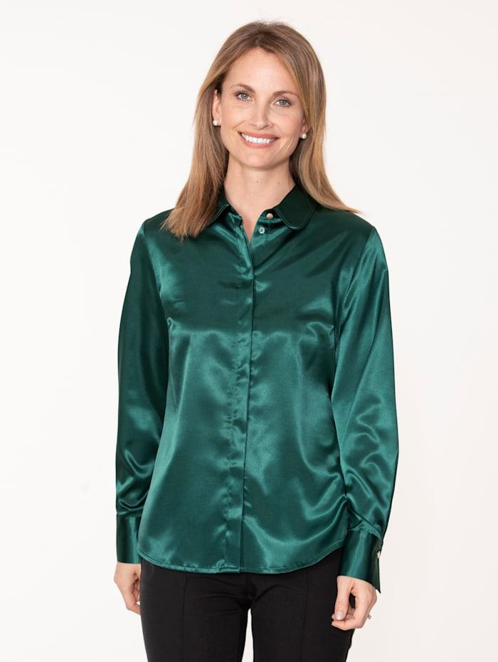 MONA Bluse aus elastischem Satin, Grün