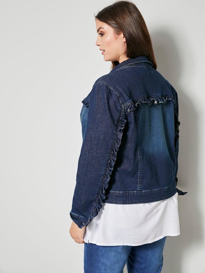 Jeansjacka med ryschdetaljer