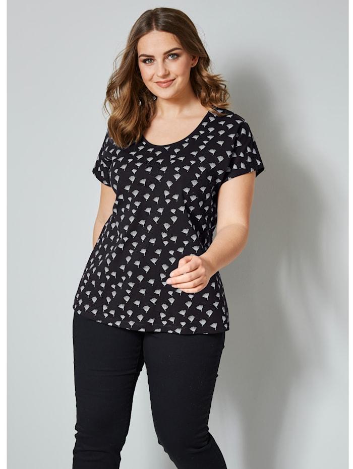 Janet & Joyce Shirt, zwart/terra gedessineerd