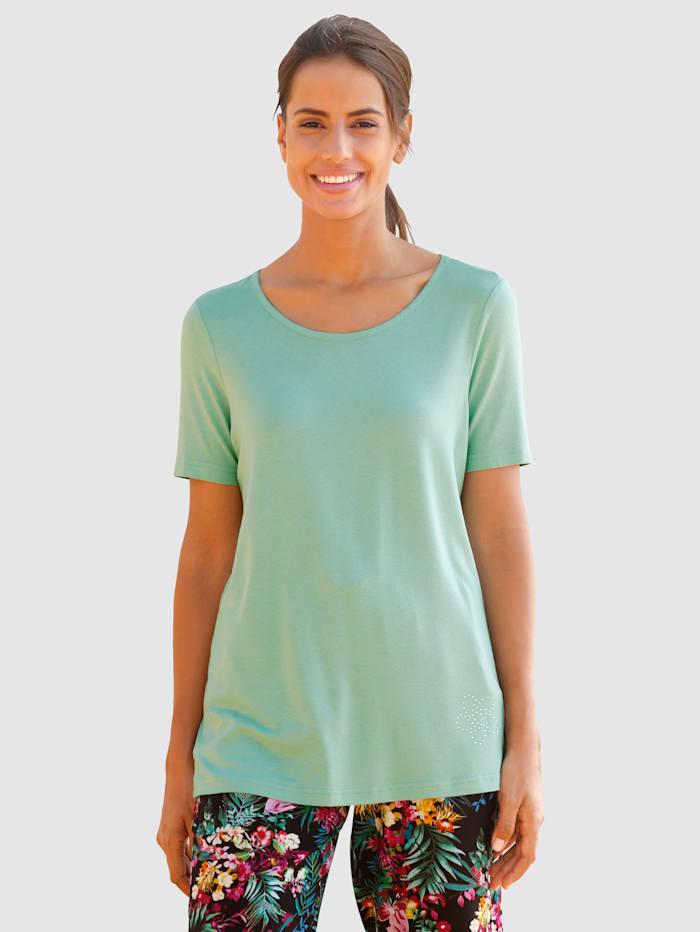 basically you Shirt mit Steinchen Dekoration, Salbeigrün