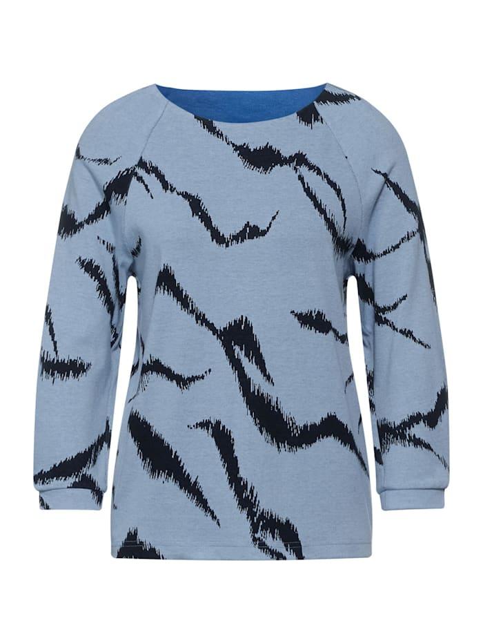 Street One Shirt mit Zebra Print, seaside blue melange