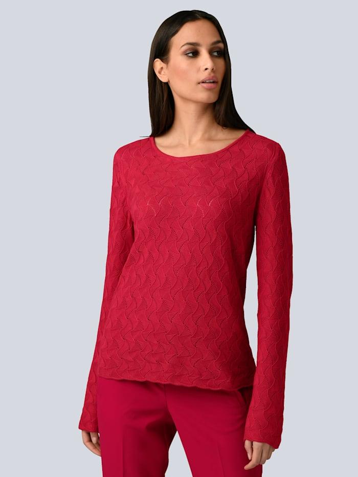 Alba Moda Pullover in tollem Strukturstrick, Rot