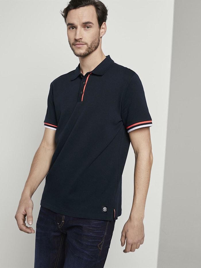 Tom Tailor Poloshirt mit gestreiften Rippblenden, Sky Captain Blue