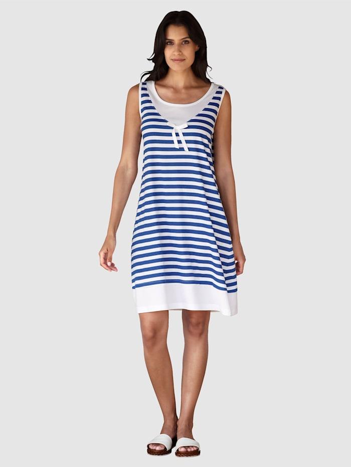 Maritim Strandkleid im Streifendesign, Weiß/Marineblau