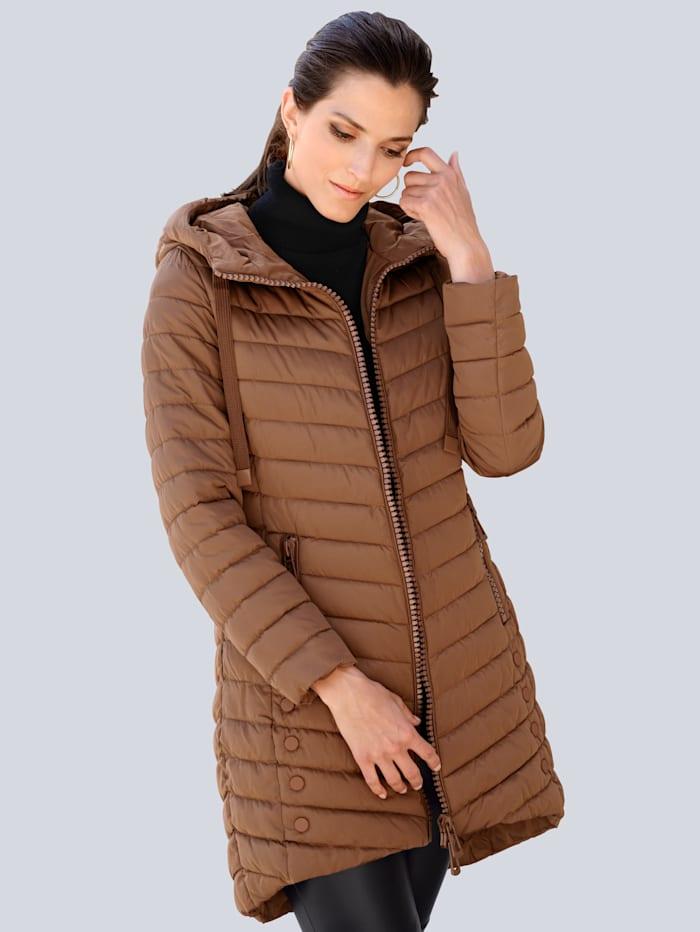 Alba Moda Doorgestikte jas met hoogwaardige details, Cognac