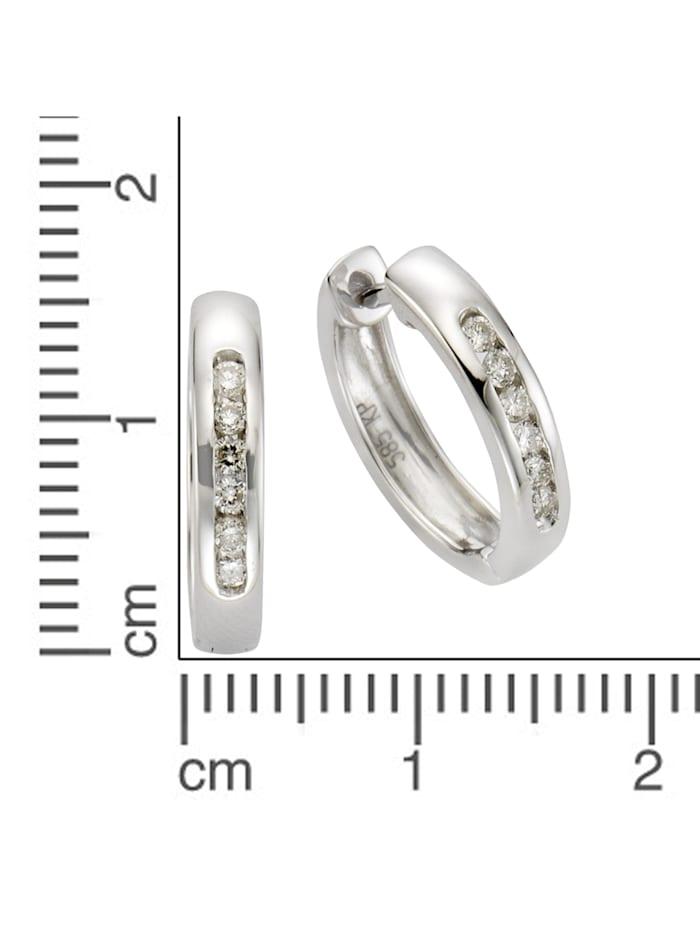 Creolen 585/- Gold Brillant weiß Brillant 1,6cm Glänzend 0,25ct. 585/- Gold