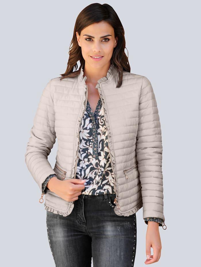 Alba Moda Gewatteerde jas met ruches langs de randen, Steen