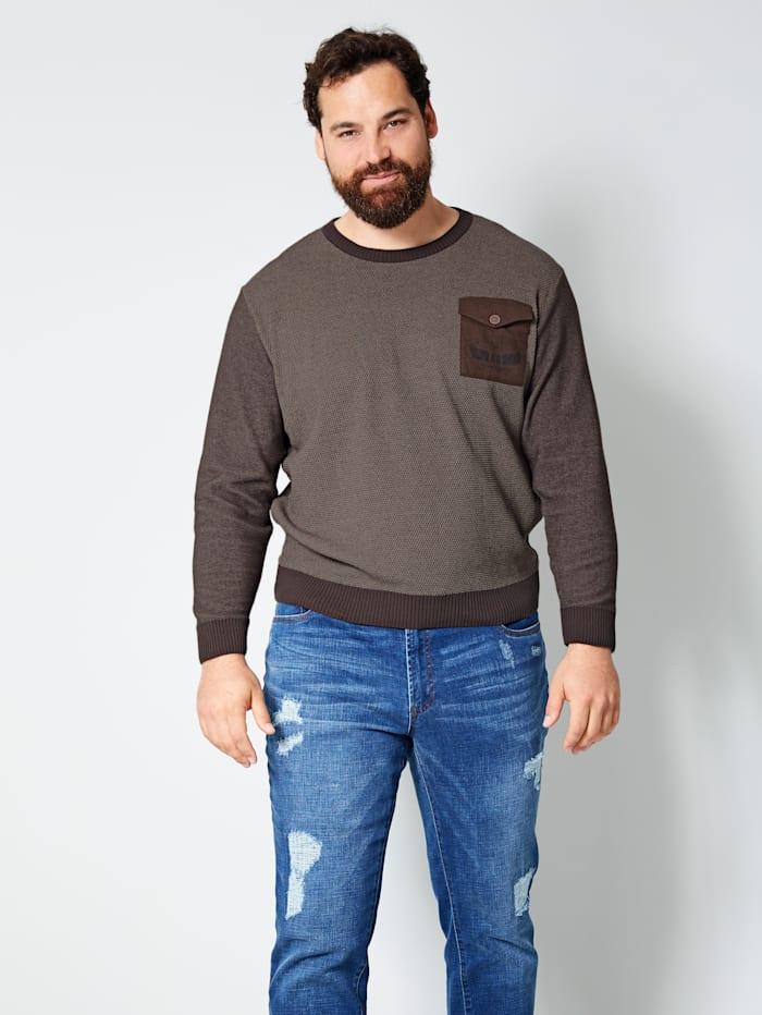 Men Plus Pullover mit einer Brusttasche, Dunkelbraun