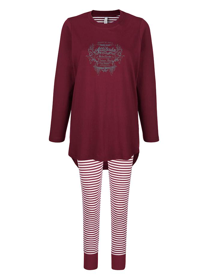 Comtessa Schlafanzug mit Druckmotiv im Vorderteil, Bordeaux/Ecru