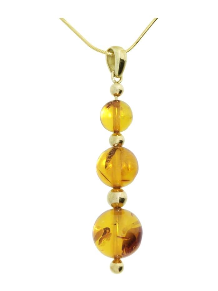 OSTSEE-SCHMUCK Kette mit Anhänger - Kugel 8/10/12 mm - Gold 333/000 - Bernstein, gold