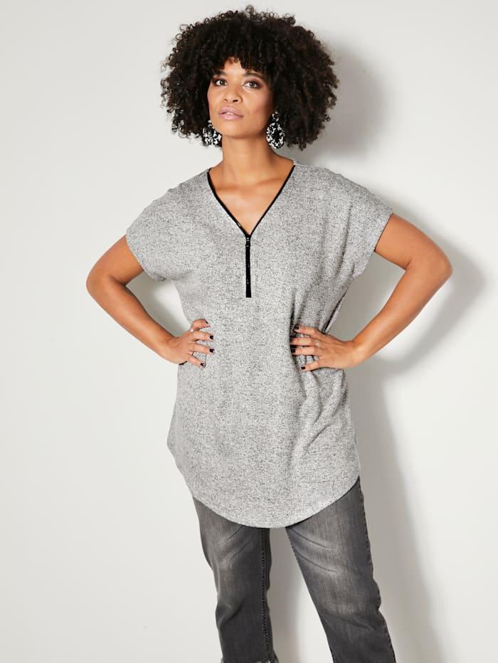 Angel of Style Tričko se zipem na výstřihu, Černá/Bílá