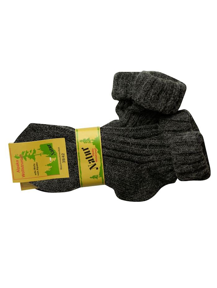 Alpaka Wollstrumpf mit Umschlag