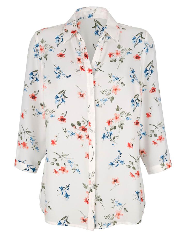 Bluse med blomstermønster