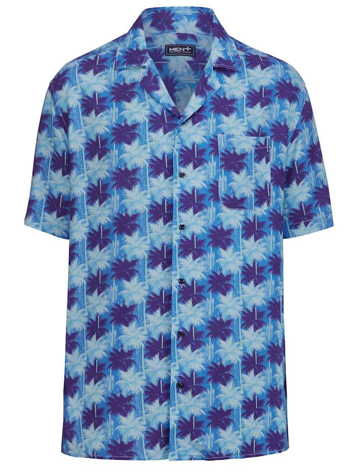 Men Plus Košeľa s celoplošnou potlačou, Modrá/Námornícka/Biela