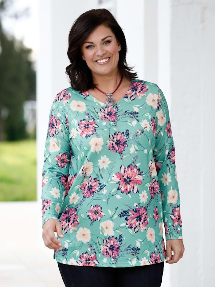 m. collection Shirt met modieus bloemenpatroon, Groen/Pink