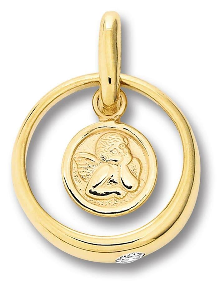 One Element Damen Schmuck Anhänger Taufring mit Schutzengel aus 333 Gelbgold Zirkonia, gold