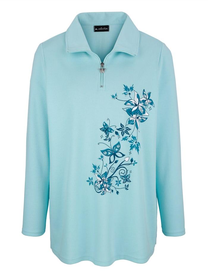 m. collection Sweatshirt mit platziertem Blumendruck, Türkis