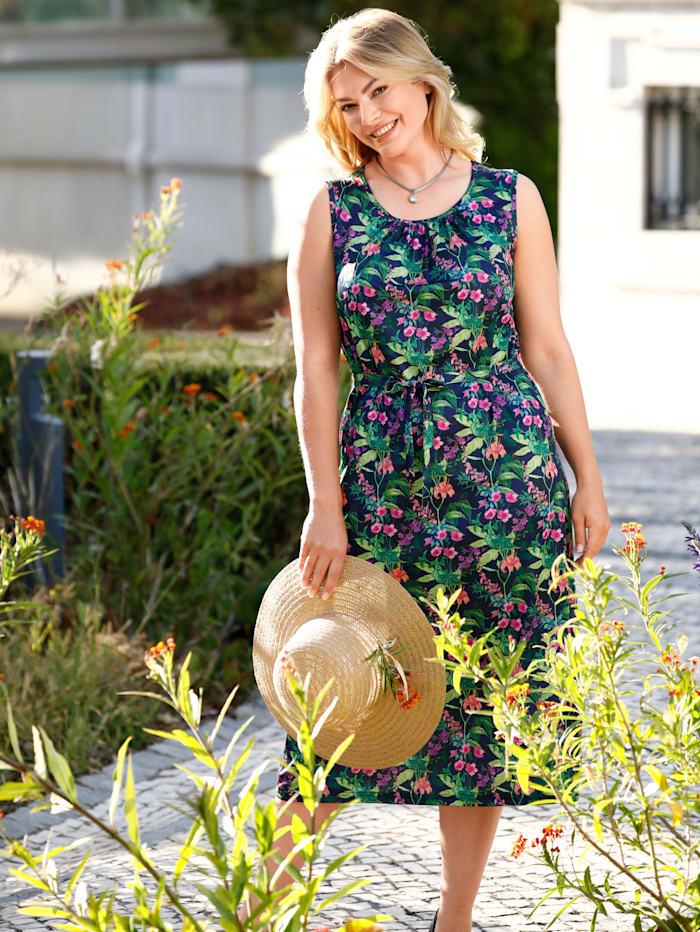 m. collection Jersey jurk met bloemendessin, Marine/Groen