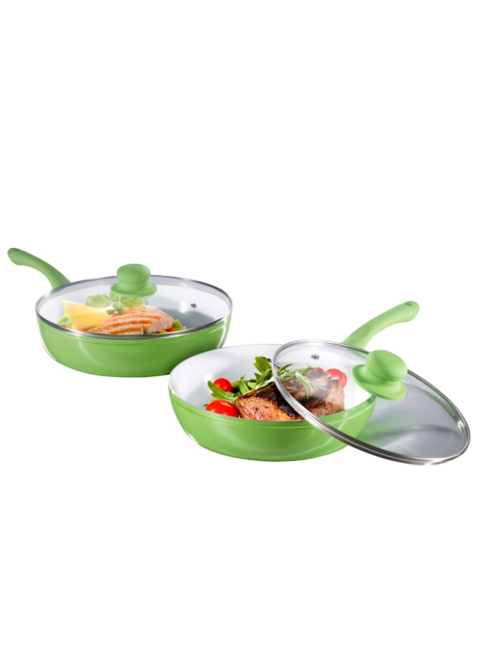 4tlg. Aluguss-Hochrandpfannen-Set 'Slim Pan' plus 2 Pfannenschoner
