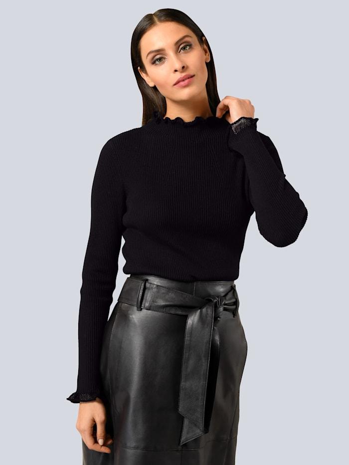 Alba Moda Pullover mit feinen Ajourkanten, Schwarz