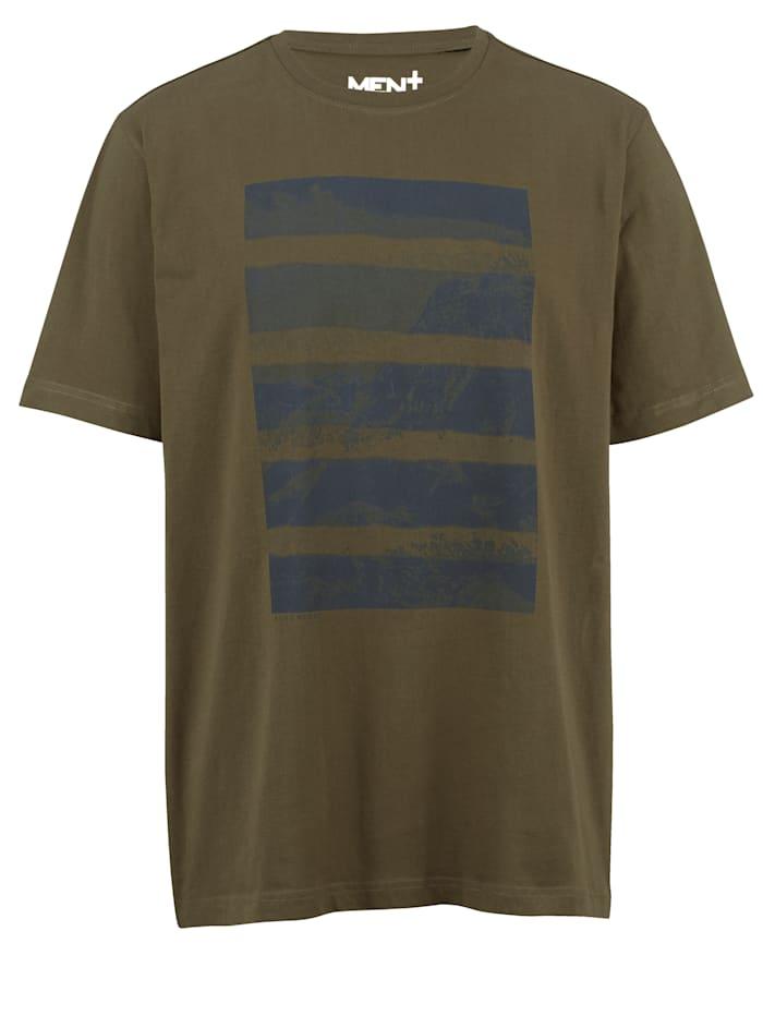 Men Plus T-shirt i snabbtorkande material, Olivgrön/Marinblå
