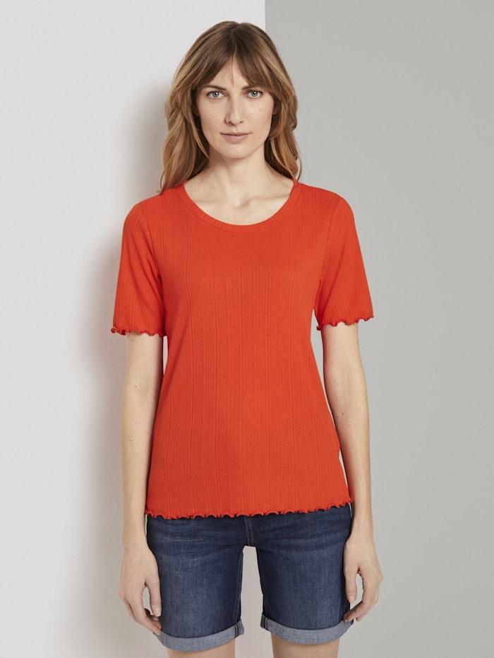 Tom Tailor Geripptes T-Shirt mit Wellsaumkanten, strong flame orange