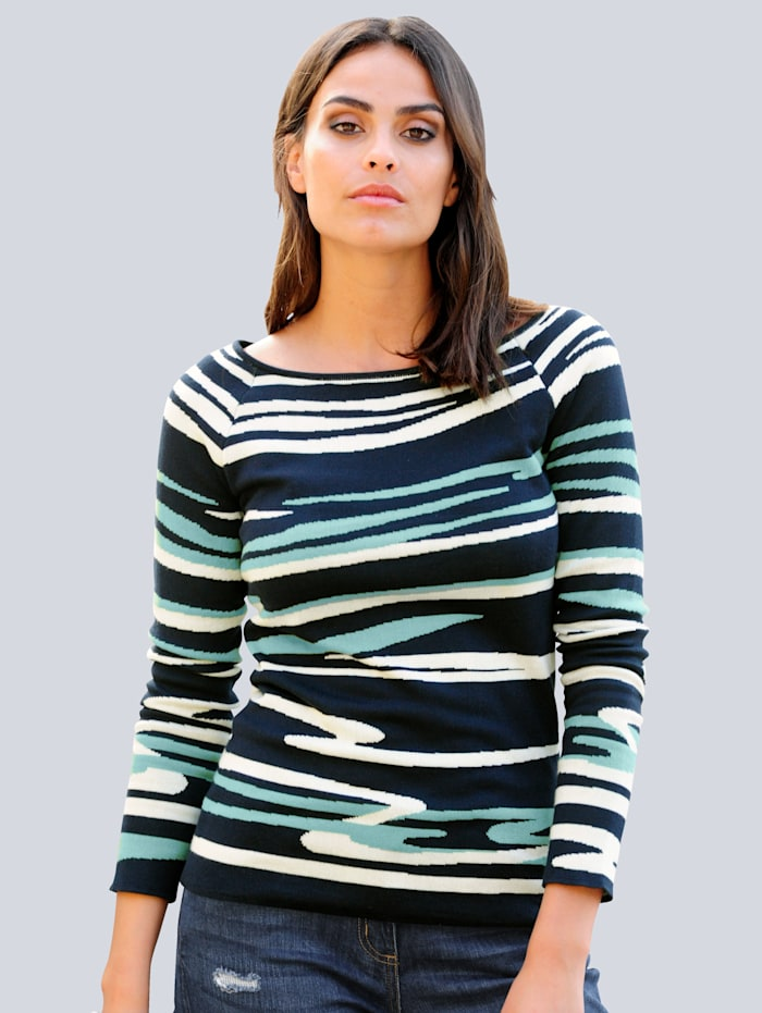 Alba Moda Pulovr s exkluzivním Alba Moda žakárovým vzorem, Námořnická/Šalvějová zelená/Přírodní bílá